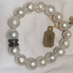 Safia  Day Pearl and Diamond Bracelet